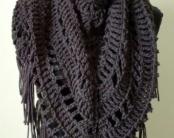 Gray scarf, gray Crocheted Shawl, triangle shawl, triangle scarf