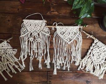 Small Macrame Wall Hangings | Driftwood Macrame | Small Macrame Hangings | Fiber Art | Wall Decor | Bohemian Decor | Boho Home |