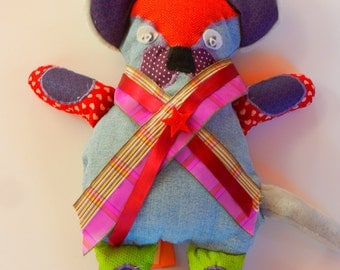 Mr Ouaf, Doudou handmade, padding antiaccariens, nine cotton fabrics or recycled textiles
