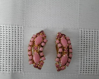 """Earrings to tweezers, gold metal, shape of Crescent, pink the Rhine stones and stones opaque pink glass (""""Milk-Glass"""") c.1950"""