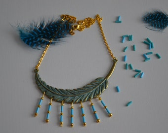 Pattern blue and Gold feather necklace