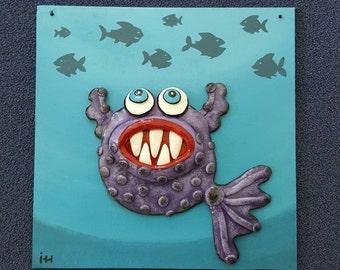 Happy fish 3d wall clay decor, handmade gift, 3D polymer clay art, funny  clay fish