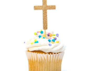 12 Count Glitter Cross Cupcake Topper Baby Shower Cupcake Topper Baptism Cupcake Topper First Communion Decorations Baptism Decorations
