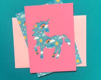 Pink Unicorn cards - Collection stencil & reason