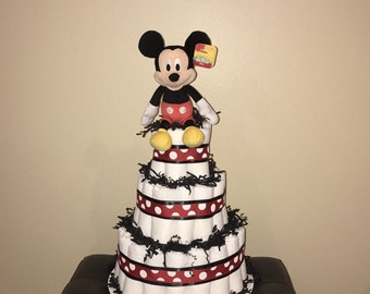 Mickey Mouse Diaper Cake - Red & Black - Babyshower - Centerpiece - Pampers - Baby Boy