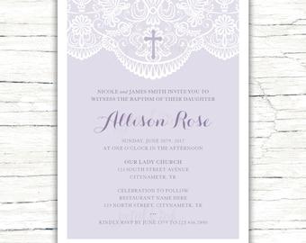 Baptism Invitation, Christening Invitation, Girls Baptism Invitation, Girls Christening Invitation, Baptism Invite, DIGITAL FILE