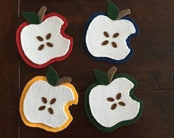 Felt harmonious apple coasters, set of 4 coasters
