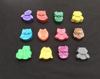 Owl Crayons (9 Owls)- Birthday Gift- Children's gift
