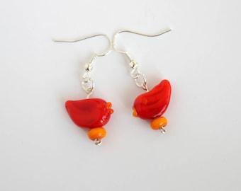 Springs messenger -  Red lampwork bead earrings