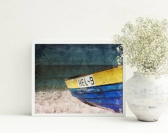 Fishing boat Sea photography 8x10 Bedroom decor Blue picture Printable poster Landscape photography Living room wall art Horizontal photo