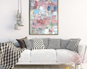 Pink Wall Art, Abstract Wall Art Painting, Wall Art for Living Room