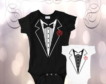 Baby Tuxedo Outfit, Life of the Party Tuxedo, Baby Boy Outfit, Baby Tux, Baby's Bodysuit, Wedding Baby, Formal Babywear Baby Shower Gift