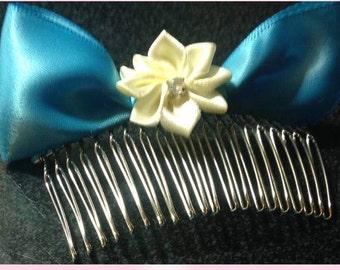 Blue silk bow
