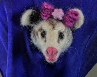 Needle Felted Opossum Magnet