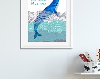 Deep Blue Sea, Print,Printable, fish,Nautical,Digital Print,Nursery,Wall Art,Whale,Children's Bedroom, A4 size,Download