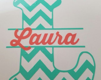 Chevron Letter with Name Vinyl Decal