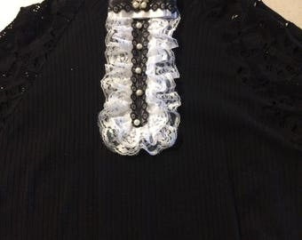 black and white jabot,Woman Tie Brooch,fabric and lace tie brooch, holiday accessories, Jabot for blouse,Office blouse,Blouse decoration