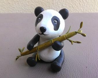 Panda with Bamboo Sculpture Clay
