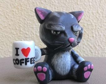 Miniature Grumpy Cat Clay Figurine