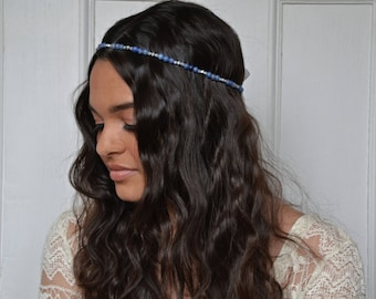 boho headpiece, bridal headband, bridal headpiece, gemstone headband, blue headpiece, blue headband, INDIGO aventurine headband, wedding