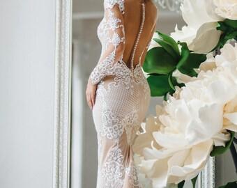 Wedding dress , unique wedding gown, champagne dress,sexy wedding dress, bridal gowns