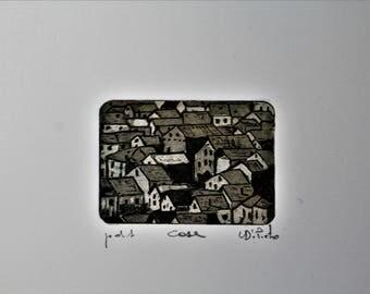 Mini Print 4 x 6 cm.-deep etching Aquatint-houses of Pentema (Genoa)