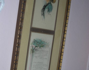 Framed Vintage Gibson Girl with Phrased Saying beneath