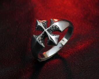 Gothic cross ring, men's ring, gothic silver ring, silver cross ring, gothic men's ring, women's silver ring, biker ring, cross jewelry gift