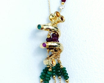 Charming Handmade Silver Necklace with Ruby and Emerald Stones (Immersed In Gold)