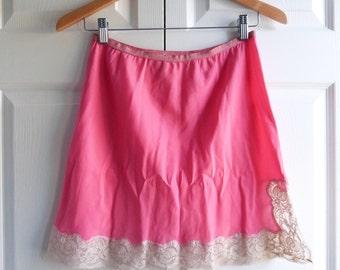 1960's Hot Pink Lace Edged Vintage Half-Slip Lingerie