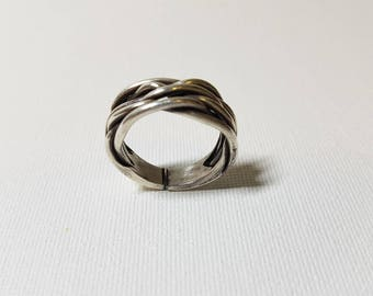 Sterling Silver Multi Braid ring, Statement Ring, Unique Ring, Adjustable Ring