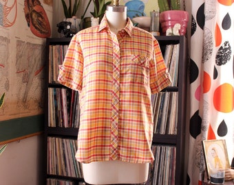 SALE 1970s 80s plaid blouse . yellow and orange womens shirt . lightweight, thin summer shirt . 39 inch chest
