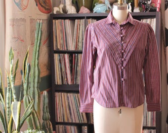 purple and orange stripe blouse . 1980s blouse with puffed shoulder . womens small medium