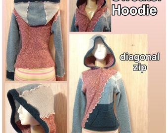 SWEATER HOODIE Katwise Inspired Boucle' Festival Up-cycled Fairy Recycled Hippie Hood Fairie wearable art Jacket OOAK size xs Ships out now!