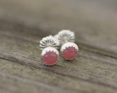 rhodocrosite and sterling silver tiny stud earrings - LAST ONE