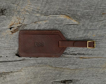 Arizona Leather Luggage Tag with Free Monogram - Personalized Travel Gift for Man Boyfriend Husband Brother Dad Grad