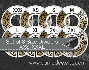 Clothing Size Dividers, Consultant Stylist Tools, Size Divider Set, Cheetah Print Dividers, Safari, Live Sale, Size Cards