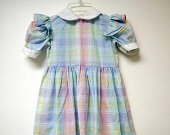 The Lilac Bush . pastel colored plaid dress . girl's size 4
