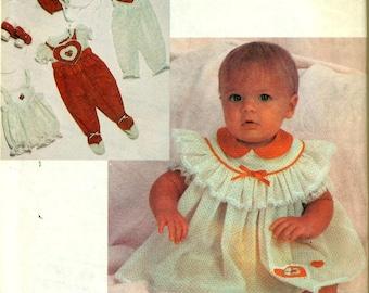 McCall's 2282 ENCHANTED FOREST Infant Ensemble Newborn Small & Medium ©1985 Romper Jumpsuit Blouse Dress Bonnet