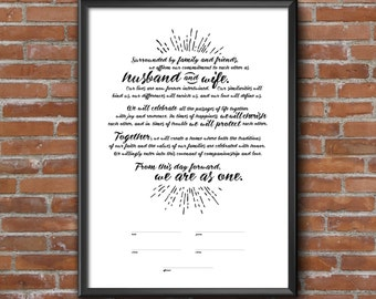 Printable Ketubah Marriage Certificate Calligraphy Download
