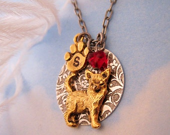 CHIHUAHUA NECKLACE. Valentine's Day Jewelry. Gifts for Women Dog Lovers. Personalized Pendant with Initial & Birthstone in Silver, Gold
