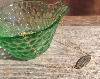 Diamond Oval Necklace, Pave Diamond, Delicate Necklace, Gold Necklace, Diamond Necklace, Simple Diamond Necklace, Boho, Rocker Chic