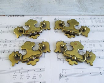 Set of Four Vintage Brass Drawer Pulls