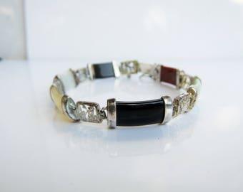"""Sterling Silver and Multi Stone Kanji Symbol Link Bracelet - 7.25""""     1408-D"""