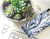 Indigo Blue Marble Zip Clutch - Modern Marbled Trend Cosmetic Bag & Marble Pencil Case