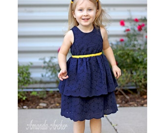 Liberty Navy Eyelet and Yellow Dress, Special Occasion, Flower Girl and Toddler