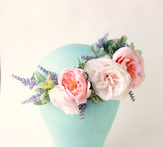 Peachy pink rose crown, Lavender and greenery, Woodland floral head wreath, Bridal hair crown, Pink flower wreath, Artificial flower crown