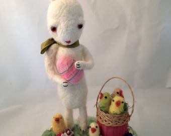 Needle felted rabbit with chicks and egg vintage style Easter figure by maria paula