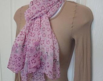 Vintage Scarf, Sheer floral 60 by 20 inch oblong, Large roses design, Pink sheer silk chiffon, Rolled hemmed edges, Pink, green, white