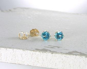 Blue Topaz Earrings Genuine Paraiba Blue Topaz Earrings Gold Stud Earrings Gemstone Stud Earrings Genuine Blue Topaz Holiday Gift For Her